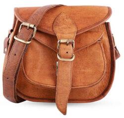 mPelle Handmade Women Shoulder Bag Vintage Rustic Retro Style Genuine Brown Leather Cross body T ...