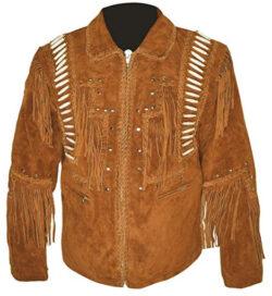 MSHC Western Cowboy Men's Brown Fringed Suede Leather Jacket D5 XXS-5XL, camel brown