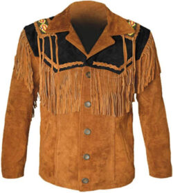 MSHC Western Cowboy Men's Brown Fringed Suede Leather Jacket D1 XXS-5XL