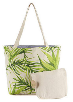 Ecolusive Multi-Purpose Tropical Canvas Shopping/Beach Tote Shoulder Bag with Pouch green