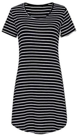 OURS Women's Crew Neck Short Sleeve Striped Loose T-Shirt Mini Dress