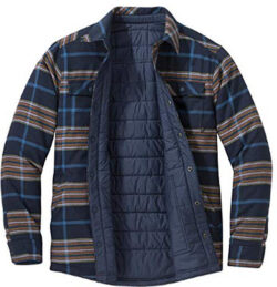 Outdoor Research Men's Kalaloch Reversible Shirt Jacket, nay blue plaid