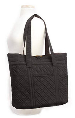 Overbrooke Reversible Quilted Tote Bag – Premium Fabric Womens Shoulder Tote black mocha