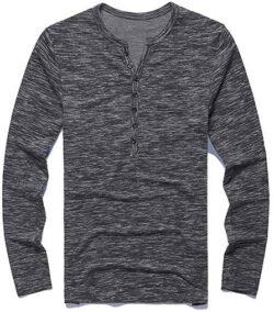 PERDONTOO Men's Casual Slim Fit Long Sleeve Henley T-Shirts Cotton Shirts dark grey