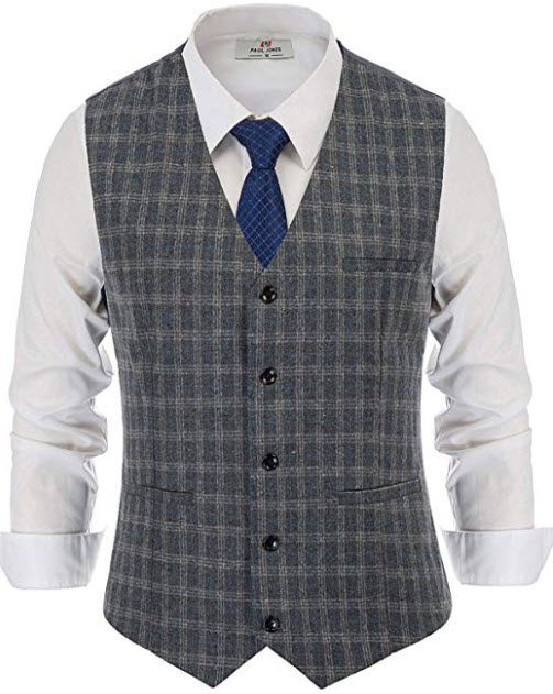 PJ PAUL JONES Men's Plaid Tweed Suit Vest V-Neck Slim Fit Wool Blend Waistcoat