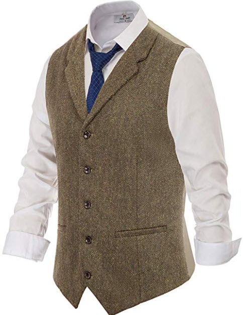 PJ PAUL JONES Men's Slim Fit Herringbone Tweed Suits Vest Wool Blend Waistcoat