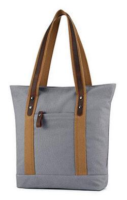 Plambag Canvas Genuine Leather Shopper Tote Retro Shoulder Bag gray