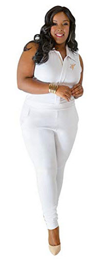 Poetic Justice Plus Size Curvy Womens White Sleeveless Stretch Collared Jumpsuit, white