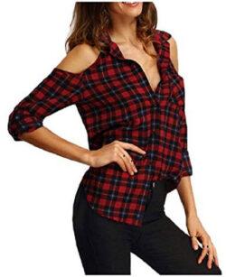 RingBong Womens Cold Shoulder Lapel Button Down Plaid Sexy Blouse Shirt