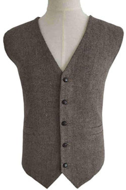 RONGKIM Men's Brown Wool Herringbone Groom Vest Formal Groom's Wear Suit for Wedding Waistcoat