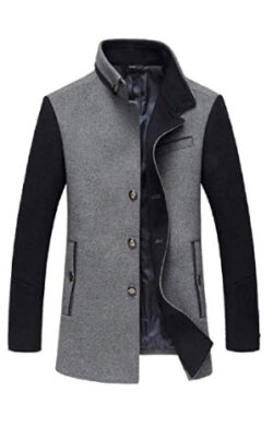 RRINSINS Mens Wool Jacket Thicken Business Casual Woolen Coats Single Breasted Warm Wool Blends  ...