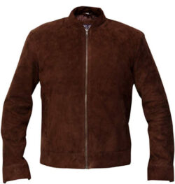 RSH LeathercraftMen's Slim Fit Brown Real Suede Leather Jacket