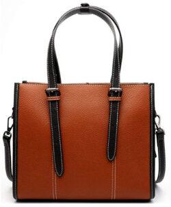 SAIERLONG New Womens Genuine Leather Handbags Tote Shoulder Bag, brown