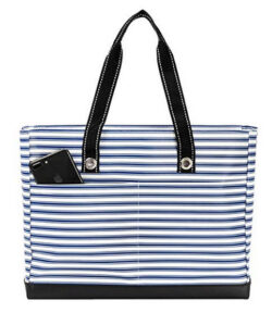SCOUT Uptown Girl Medium Multi-Pocket Tote Bag, Water Resistant, Zips Closed stripe right