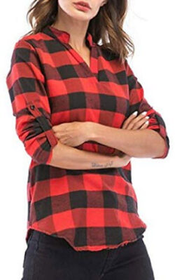 SELX Women Slim Fit Plaid Plus Size V Neck Long Sleeve Shirt Blouse Top, red