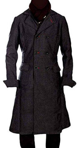 Zibco Fashions Sherlock Holmes Benedict Cumberbatch Black Wool Long Trench Coat Jacket