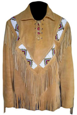 SleekHides Men's Western Suede Leather Shirt with Fringes and Beads, brown