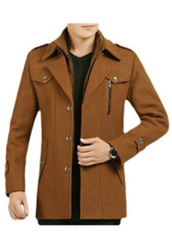 Smallwin Men's Single Breasted Zipper Pocket Button Lapel Neck Wool Blend Coat Jacket