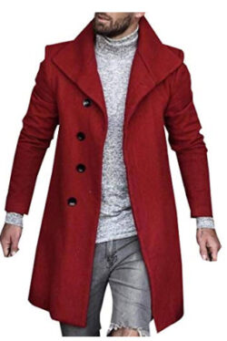 Smeiling Womens Men's Winter Trench Coat Slim Fit Wool Blend Long Pea Coat Jacket Business Suits