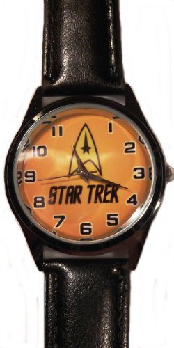 STAR TREK Original Series COMMAND LOGO Genuine Black Leather Band WRIST WATCH by Main Street 24/7