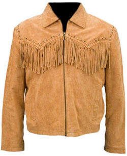 Stormwise Men's Cowboy Suede Leather Coat, brown