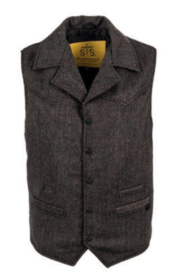 STS Ranchwear Men's Wool Blend Cowboy Cut Vest (Black, Large)
