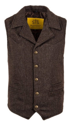 STS Ranchwear Men's Wool Blend Cowboy Cut Vest (Brown, Small)