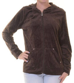 Style & Co. Womens Plus Velour Studded Hoodie esspresso brown