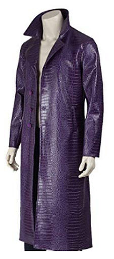 Suicide Squad The Joker Jared Leto Crocodile Style Purple Faux Leather Long Trench Coat