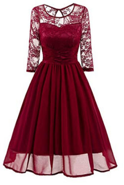 Sweetylife 3/4 Long Sleeves Lace Chiffon Cocktail Party Dresses A Line Scoop Neck Evening Prom G ...