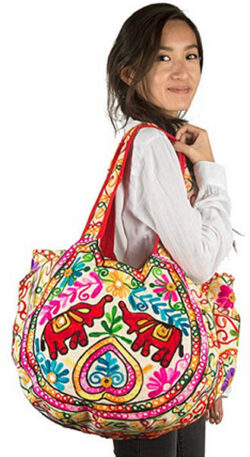TribeAzure Elephant Tote Embroidered Mirror Shoulder Bag Top Handle Satchel Summer Beach Casual  ...