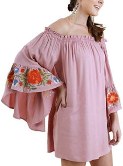 Umgee Women's Off Shoulder Bell Sleeve Floral Embroidered Mini Dress