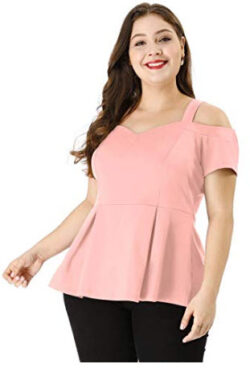 uxcell Women's Plus Size High Waist Sweetheart Cold Shoulder Peplum Top, pink
