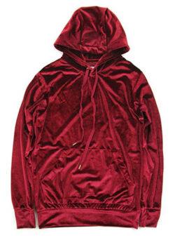 VFIVE UNFOUR Unisex Velvet Velour Swag Fashion Hoodies wine red