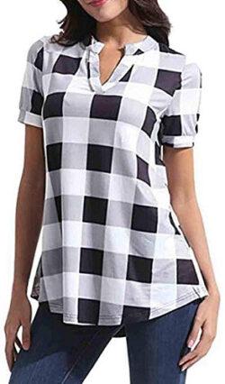 WAWAYA Women's Short Sleeve Plaid Check Comfy Plus Size V-Neck Summer Shirt Blouse Top, white