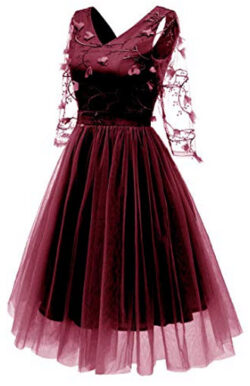 Wellwits Women's 3/4 Embroidery Lace Homecoming Bridesmaid Dress, wine