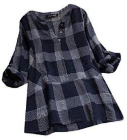 Winwinus Womens Plus Size Loose Plaid Long Sleeve Stitch V Neck Blouses Shirt, blue