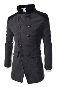 Wofupowga Mens Business Double Breasted Lapel Neck Pocket Wool Blend Coat Jacket