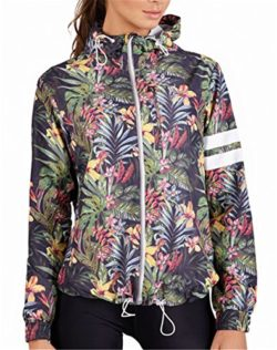 Women Long Sleeve Hooded Floral Printed Light Weight Zipper Thin Bomber