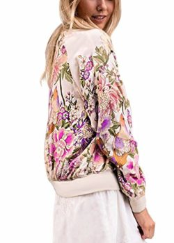 Women's Bomber Jacket Floral Print Biker Quilted Lightweight Coat by Ruiyige