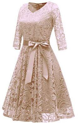 Somthron Women's 1950s Retro Bow Tie Half Sleeve Bridemaid Aline Dress Hollow Floral High  ...