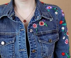 WSPLYSPJY Women Denim Casual Slim Fit Single Breasted Embroidered Trucker Jacket, blue