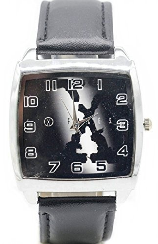X-Files Logo Black Leather Band Wrist Watch by Main Street 24/7