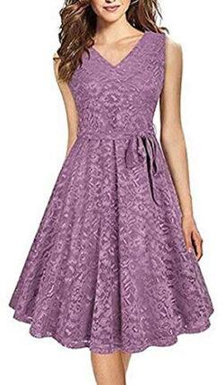 Yuki Isabelle Women' s Sleeveless V-Neck Lace Slim Party Dress Elegant Evening Dress Belt, ...