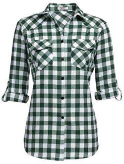 Zeagoo Womens Flannels Long/Roll Up Sleeve Plaid Shirts Cotton Check Gingham Top, grass green