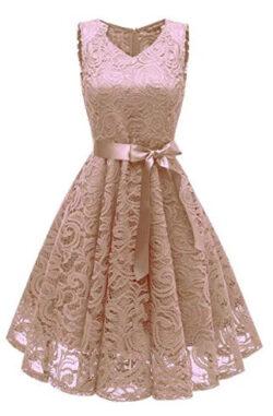 zhuluokekeWomen's Lace Prom Dresses V-Neck Sleeveless Dresses with Bow-Knot Belt Knee Length Eve ...