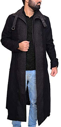 Abbraci Killer Men's Trench Winter Wool Long Classic Altered Coat, black