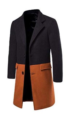 Abeaicoc Men Slim Single-Breasted Wool-Blend Lapel Overcoat Contrast Top Coat