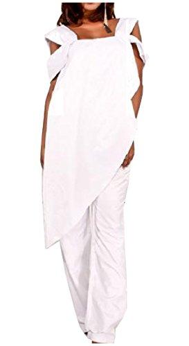 Abetteric Women's Chiffon Irregular Plus Size Jumpsuit Siamese Trousers