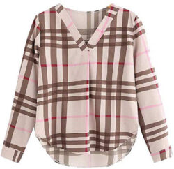 Abetteric Womens V-Neck Striped Plaid Fashion Blouse Long Sleeve Western Shirt, khaki